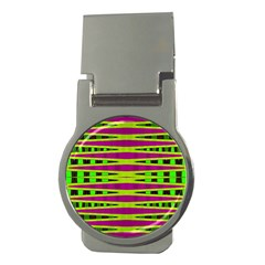 Bright Green Pink Geometric Money Clips (Round)