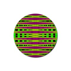Bright Green Pink Geometric Rubber Round Coaster (4 Pack)