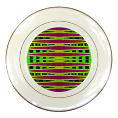 Bright Green Pink Geometric Porcelain Plates