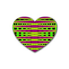Bright Green Pink Geometric Rubber Coaster (heart)