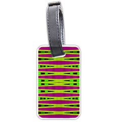 Bright Green Pink Geometric Luggage Tags (One Side)