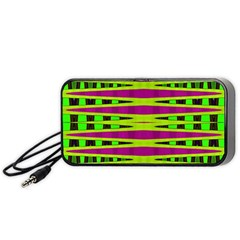 Bright Green Pink Geometric Portable Speaker (black)