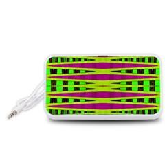 Bright Green Pink Geometric Portable Speaker (white)