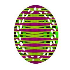 Bright Green Pink Geometric Ornament (Oval Filigree)