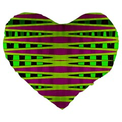 Bright Green Pink Geometric Large 19  Premium Heart Shape Cushions