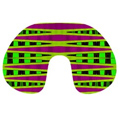 Bright Green Pink Geometric Travel Neck Pillows