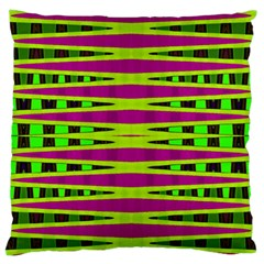 Bright Green Pink Geometric Large Flano Cushion Case (one Side)