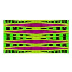 Bright Green Pink Geometric Satin Shawl