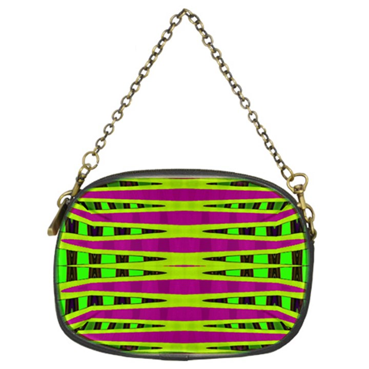 Bright Green Pink Geometric Chain Purses (Two Sides)