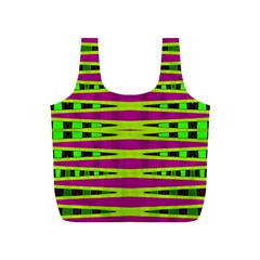 Bright Green Pink Geometric Full Print Recycle Bags (s)