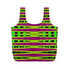 Bright Green Pink Geometric Full Print Recycle Bags (m)