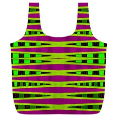 Bright Green Pink Geometric Full Print Recycle Bags (L)