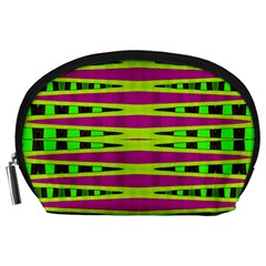 Bright Green Pink Geometric Accessory Pouches (large)