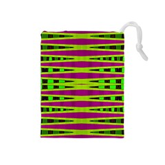 Bright Green Pink Geometric Drawstring Pouches (medium)