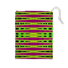Bright Green Pink Geometric Drawstring Pouches (large)