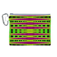 Bright Green Pink Geometric Canvas Cosmetic Bag (L)