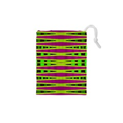 Bright Green Pink Geometric Drawstring Pouches (XS)