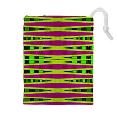 Bright Green Pink Geometric Drawstring Pouches (extra Large)