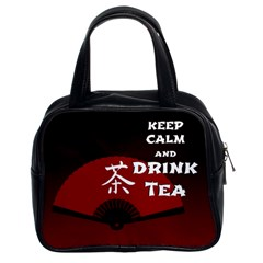 Keep Calm And Drink Tea - dark asia edition Classic Handbags (2 Sides)
