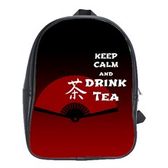 Keep Calm And Drink Tea - dark asia edition School Bags(Large)