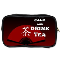Keep Calm And Drink Tea - dark asia edition Toiletries Bags