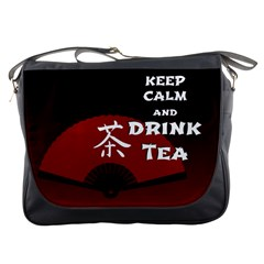 Keep Calm And Drink Tea - dark asia edition Messenger Bags