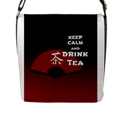 Keep Calm And Drink Tea   Dark Asia Edition Flap Messenger Bag (l)