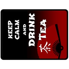 Keep Calm And Drink Tea   Dark Asia Edition Double Sided Fleece Blanket (large)