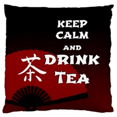 Keep Calm And Drink Tea - dark asia edition Large Flano Cushion Case (Two Sides)