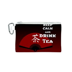 Keep Calm And Drink Tea - dark asia edition Canvas Cosmetic Bag (S)