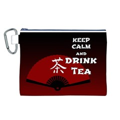Keep Calm And Drink Tea - dark asia edition Canvas Cosmetic Bag (L)