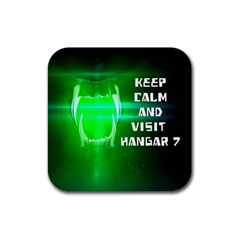 KEEP CALM AND VISIT HANGAR 7 Rubber Square Coaster (4 pack)
