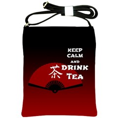 Keep Calm And Drink Tea   Dark Asia Edition Shoulder Sling Bags