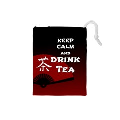 Keep Calm And Drink Tea - dark asia edition Drawstring Pouches (Small)