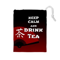 Keep Calm And Drink Tea - dark asia edition Drawstring Pouches (Large)