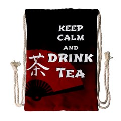 Keep Calm And Drink Tea - dark asia edition Drawstring Bag (Large)