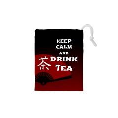 Keep Calm And Drink Tea - dark asia edition Drawstring Pouches (XS)