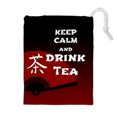 Keep Calm And Drink Tea - dark asia edition Drawstring Pouches (Extra Large)