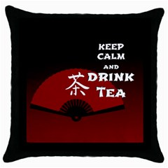 Keep Calm And Drink Tea - dark asia edition Throw Pillow Case (Black)
