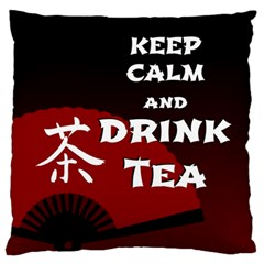 Keep Calm And Drink Tea   Dark Asia Edition Large Cushion Case (two Sides)