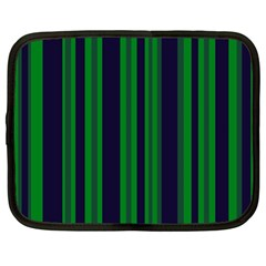 Dark Blue Green Striped Pattern Netbook Case (large)