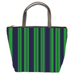 Dark Blue Green Striped Pattern Bucket Bags