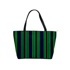 Dark Blue Green Striped Pattern Shoulder Handbags