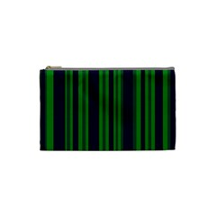 Dark Blue Green Striped Pattern Cosmetic Bag (small)