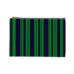 Dark Blue Green Striped Pattern Cosmetic Bag (Large)