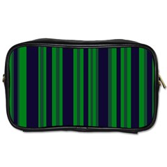 Dark Blue Green Striped Pattern Toiletries Bags
