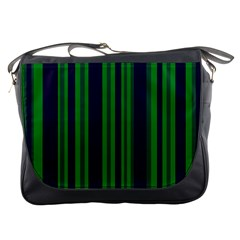 Dark Blue Green Striped Pattern Messenger Bags