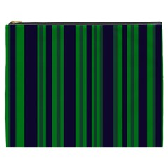 Dark Blue Green Striped Pattern Cosmetic Bag (xxxl)
