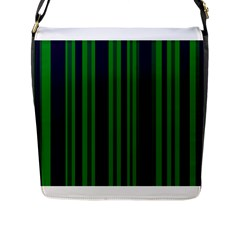 Dark Blue Green Striped Pattern Flap Messenger Bag (l)