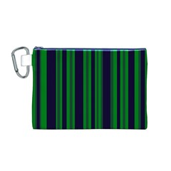 Dark Blue Green Striped Pattern Canvas Cosmetic Bag (m)